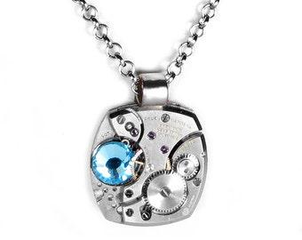 Steampunk Jewelry Necklace RARE GRUEN Watch AQUA Crystal, Birthstone Necklace Anniversary Weddings Boyfriend Girlfriend Gift - by edmdesigns