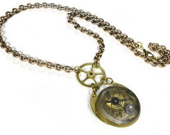 Steampunk Jewelry Necklace Vintage Optical THICK Lens Brass BOLD Gears Key, Men Women Steam Punk Burning Man - READY To Ship - by edmdesigns