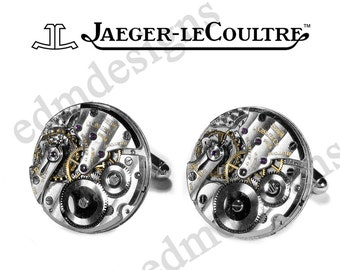 Mens JAEGER LeCOULTRE Cufflinks, LeCoultre Cufflinks, RARE Pinstripe Wedding Anniversary Groom, Husband Holiday Gift - Jewelry by edmdesigns