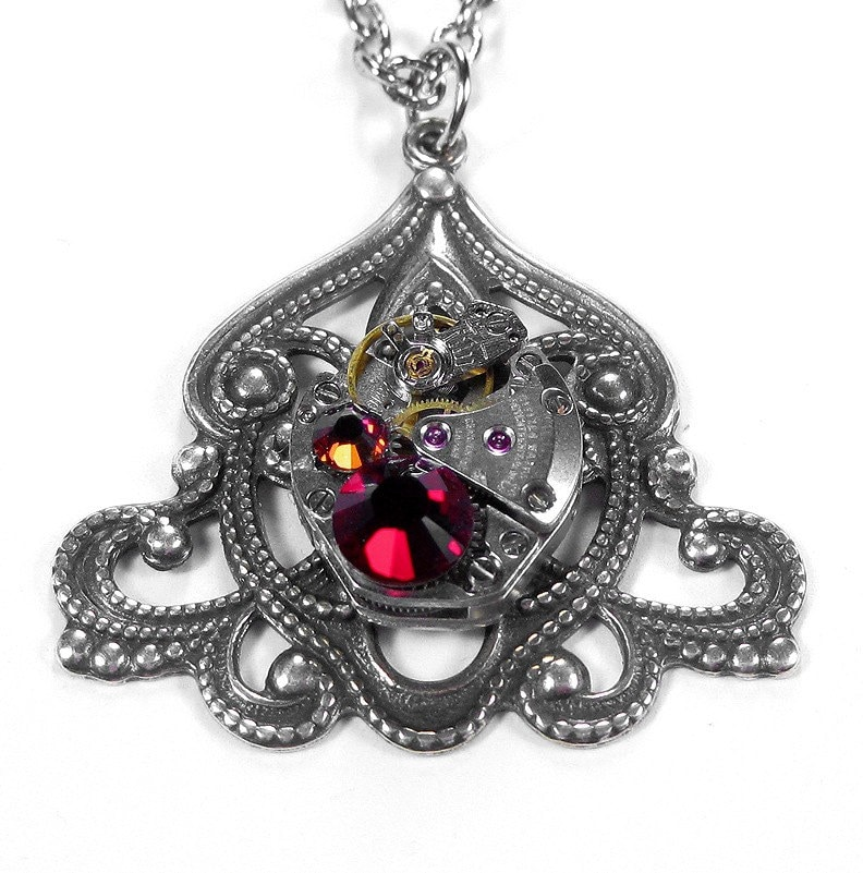 Is Steampunk Jewelry A Craft Or An Art: Steampunk Jewelry Necklace Vintage Watch ART NOUVEAU Red