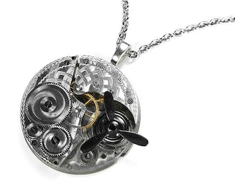 Steampunk Vintage Mens ETCHED Silver Pocket Watch Movement Pendant Necklace SPINNING PROPELLER, Anniversary Boyfriend Gift -  by edmdesigns