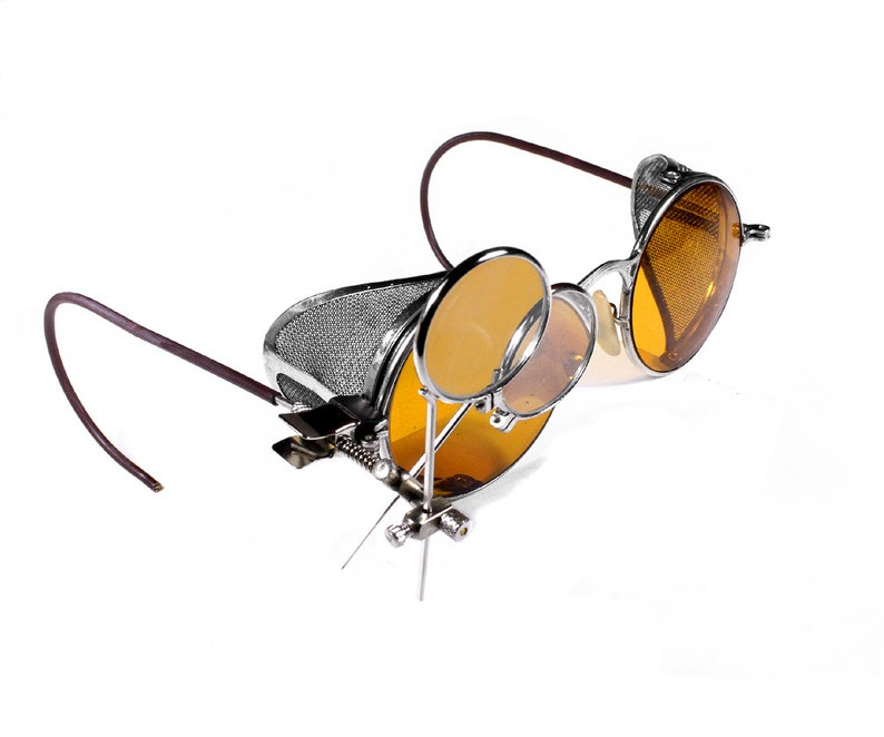 by edmdesigns Wire Mesh Side Shields Loupes Burning Man Steampunk Goggles Rare AMBER Yellow Tint Antique WELSH Driving Glasses MINT