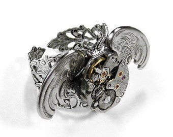 Steampunk Jewelry, Steam Punk Mens Ring Vintage Watch Mechanism Silver OWL WINGS Mens Ring UNiSEX Adjustable Womens Owl Gift - by edmdesigns