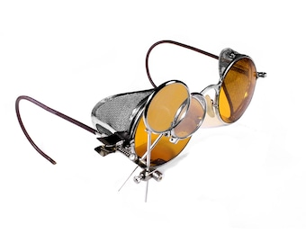 Steampunk Goggles Rare AMBER Yellow Tint Antique WELSH Aviator Driving Glasses Wire Mesh Side Shields Loupes MINT - Steampunk by edmdesigns