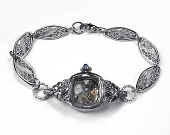 Steampunk Jewelry Bracelet BULOVA Watch Silver Case DIAMOND Rhinestone Cuts, Sapphire Stem, Girlfriend, Anniversary Women - by edmdesigns