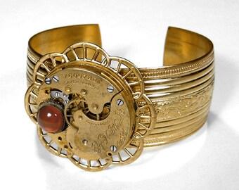 Steampunk Jewelry Cuff Vintage ELGIN Gold Ornate Pocket Watch Bracelet AMBER GEM Wedding Birthday Anniversary Holiday Gift - by edmdesigns