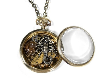 Steampunk Jewelry Necklace Vintage 10K GOLD Pocket Watch SCORPION Watch Parts GEARS Wheels Trilobite Shrine, Can CUSToMIZE  - by edmdesigns
