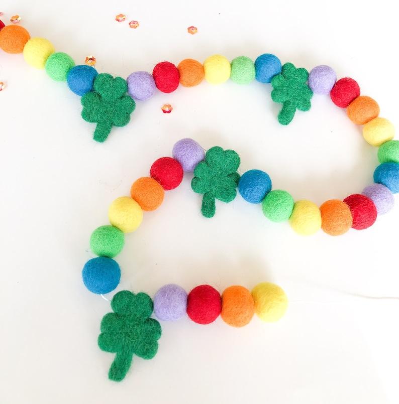 St Patrick Day Rainbow Modern Felt Ball Pom Pom Garland Rainbow garlandRainbow Party DecorPom Pom garlandsFelt ball garland