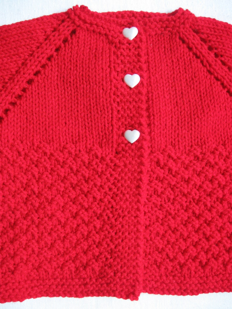 Hand Knit Red Cardigan with White Heart Buttons for Baby