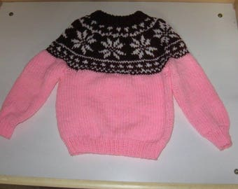Snowflake Ski Sweater in Pink with Burgundy Yoke for Children