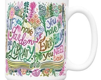 Garden and a Library Cicero Quote Mug Bookstagram Bookish Mug Book Lover Gift Literary Gift Reader Gift Fiction Mug Hand Lettered Mug