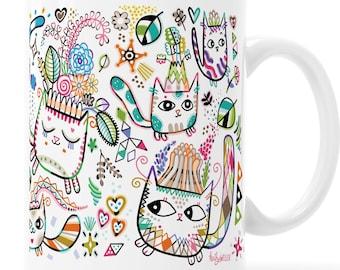 Rainbow Garden Cat Full Wrap Mug Fairy Cat Crown Art Mug Fantasy Cats and Flowers Flying Garden Gift Flying Cat Mug Double Sided Mug