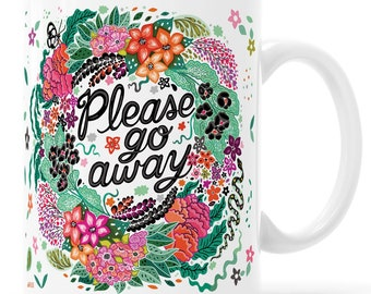 Please Go Away Introvert Mug Pastel Goth Floral Snake and Moth Mug Plant Witch Green Witch Nature Witch Nu Goth Introvert Plant Lady Mug