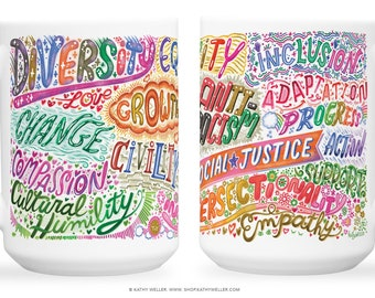 Social Justice Mug - Equality - Intersectional - Feminist Mug - Feminism - Human Rights - Civility - LGBTQIA - Nonbinary - Enby Mug - BLM