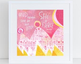 She Is Fierce Art Print Nursery Art Girls Room Decor Girls Room Art Print Pink Nursery Art Pink Nursery Decor Kathy Weller Art