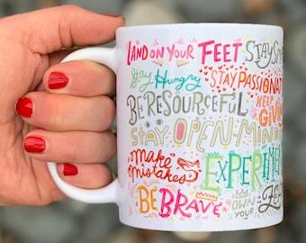 52c48b54a0d Inspirational Quote Mug, Motivational Quote Mug, Motivational Sayings, Hand  Lettered Mug, Rainbow Mug, Self Care Gift, Emotional Support