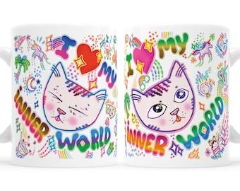 Empath I Love My Inner World Cat Emoji Mug Introvert Mug Cute Cat Mug Cute Introvert Mug Highly Sensitive Person Gift Empath Gift