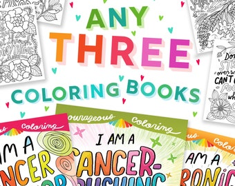 Coloring Book Set Art Therapy Support Coloring Book Creativity Bundle Book Cancer Warrior Cancer Crushing Ninja Color Positive Affirmations