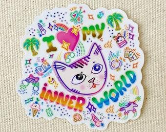 I Love My Inner World introvert cat unicorn crystals candy sticker - rainbow gradient sticker - Kathy Weller Art