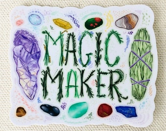 Magic Maker pagan wiccan vinyl sticker with sage smudge stick, amethyst and healing crystals and hand lettering - Kathy Weller Art