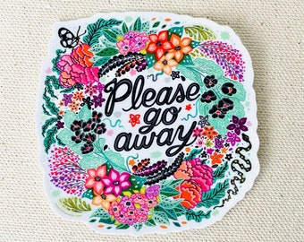 Please Go Away black graphic goth vinyl sticker with snake and moth and cursive hand lettering - Kathy Weller Art