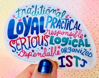 ISTJ sticker MBTI sticker Introvert sticker Myers Briggs sticker Introvert gift Personality type ISTJ attribute sticker Vinyl laptop sticker