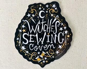 Witches' Sewing Coven - Sewing sticker - Needle and thread - Witch sticker - Sew Witch - Kathy Weller Art