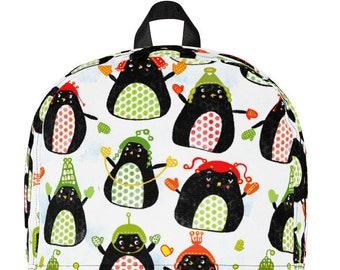 Penguin Backpack Christmas Gift Christmas Penguins Bag Kids Penguin Gift Polka Dot Penguin Bag Kathy Weller Art
