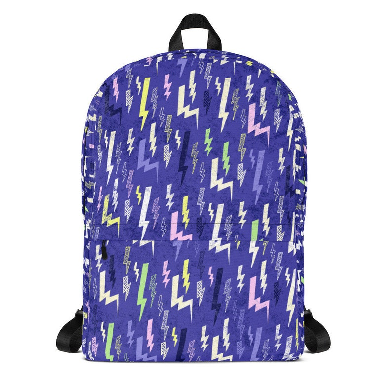 Glam Rock Lightning Backpack Pastel Goth Backpack Electric image 0