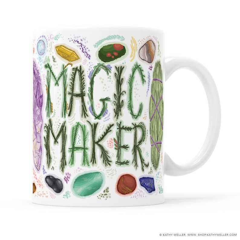 Magic Maker Mug Wiccan Mug Smudge Stick Mug Crystal Healing image 0