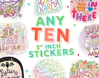 10 STICKER BUNDLE -  10 sticker pack - ten vinyl stickers - build your own sticker bundle - matte stickers gloss stickers holo stickers