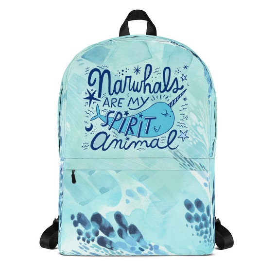 47909aa503cb Cute Narwhal Backpack Narwhal Spirit Animal Backpack Cute Narwhal Kawaii  Narwhal Spirit Animal Kids Narwhal Backpack Cute Blue Bag