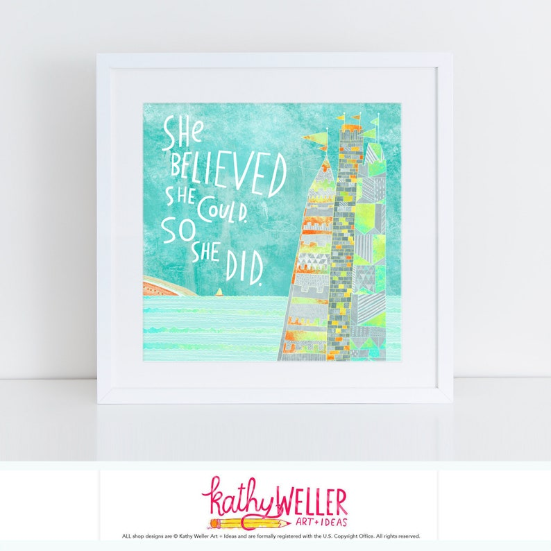 So She Did Wall Art Shakespeare Quote Art Gender Neutral Room image 0