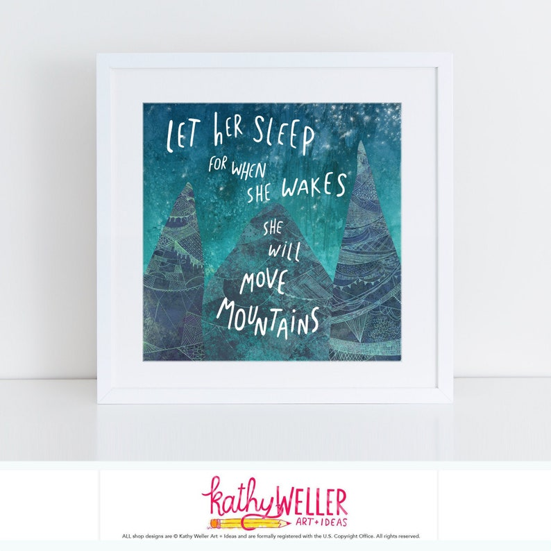 Let Her Sleep Kids Room Art Mountain Print Celestial Print image 0