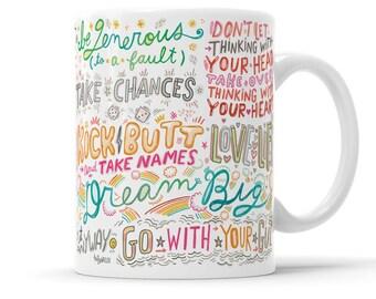 Be Brave Manifesto Inspirational Mug Gift Entrepreneur Gift Girl Boss Gift BFF Mug Hand Lettered Mug Good Vibes Only Motivational Mug