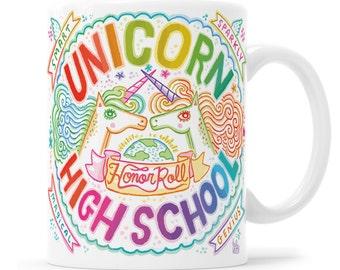 Unicorn School - Unicorn Mug - Unicorn Gifts - Rainbow Unicorn -  Unicorn office - Unicorn kitchen - Unicorn coffee mug - Unicorn crest