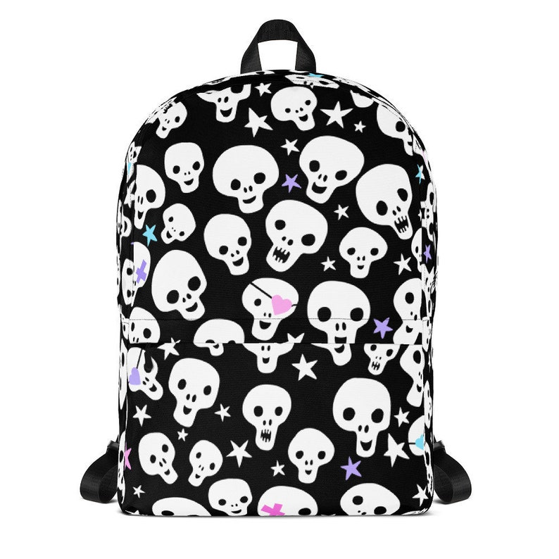 Cute Skull Backpack Menhera Skull Cute Goth Harajuku Backpack Pastel Pirate Skulls