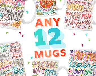 12 MUG BUNDLE - Pick Mugs - Choose Your Mugs - Pick Any Twelve - Bulk Mugs - Customer Choice - Select 12 mugs - Twelve Mug Pack - Multi Mug