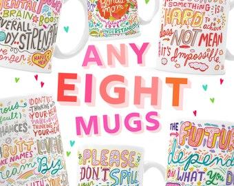 8 MUG BUNDLE - Pick Mugs - Choose Your Mugs - Pick Any Eight - Bulk Mugs - Customer Choice - Select 8 mugs - Eight Mug Pack - KathyWeller