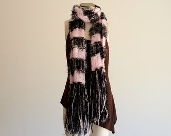 Blanket Scarf French Style Pale Pink, Black Soft French Scarf French Stripes Parisian Wrap Pink and Black Scarf Black and Pink Scarf, Fringe