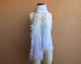 White Rainbow Fringe Scarf. Prism Pastel Rainbow Scarf Rainbow Ribbon Scarf Multicolor Rainbow Fashion Scarf Knit Accessories