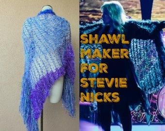 Light Weight Shawl Fairytale Gift Blue and Purple Wrap Shawl Wrap Lace Shawl in Lightweight Lavender Royal Blue, Sky Blue Stevie Nicks Shawl