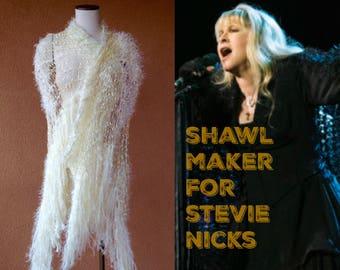 Boho Shawl Boho Wedding Shawl Boho Bridal Wrap for Boho Bride Wedding Accessories Cream Shawl Ivory Shawl Stevie Nicks Fringe Shawl