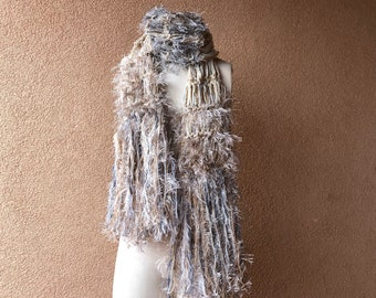 Earth Tones Scarf Chunky Knit Winter in Grey Ivory Taupe Beige Brown Tan by Stevie Nicks Designer Crickets Creations. Hand Knit with Fringe