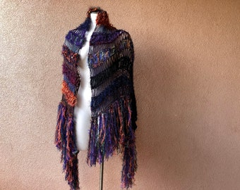 Halloween Shawl Ready-to-Ship. Stripes Scarf Shawl. Hand Knit Wrap Shawl in Purple, Orange, Black, Blue. Large Size, Fringe, Bold Colors