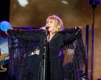 Stevie Nicks Shawl Wrap Gift for Her Scarves for Women Black Shawl, Authentic Stevie Nicks Costume Shawl, See Through Black Stevie Shawl