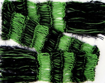 Halloween Green and Black Scarf for Wicked Witch of the West Elphie Elphaba Fan Accessories Knit Green Scarf with Black Knit Accessories