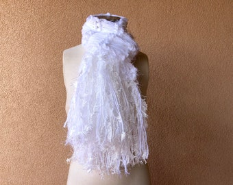 Feathery Fringe Swan White Hand Knit Scarf All White Scarf, Only White Scarf, Pure White Scarf for Women