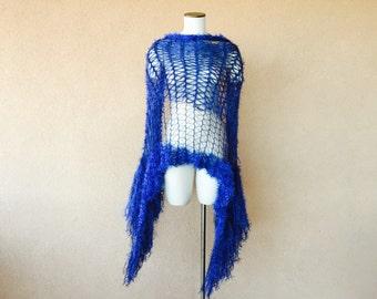 Blue Stevie Nicks Shawl. Wedding Fringe Wrap Cobalt Blue Shawl Midnight Blue, Sapphire Shawl Accessories Jewel Tone Shoulder Wrap