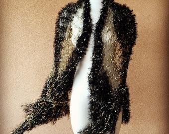 Stevie Nicks Gift for Her Stevie Nicks Scarf Birthday Gift Stevie Nicks Shawl Designer Celeste Crickets Meyeres Black and Gold Shawl Wrap
